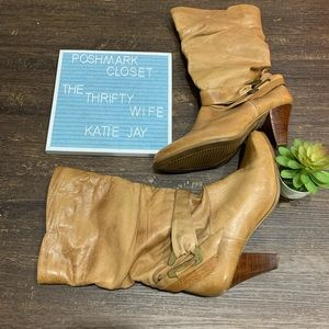 Vintage 1980s Leather slouch heeled boots size 8.5